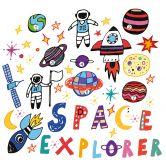 Wandtattoo Weltraum Astronauten Set