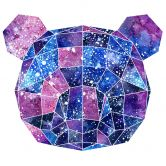 Wandtattoo Polygon Galaxie Pandakopf