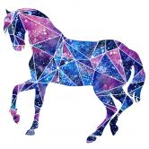 Wandtattoo Polygon Galaxie Pferd