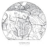 Wandtattoo Stadtplan Hamburg - rund