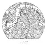 Wandtattoo Stadtplan London - rund