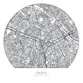 Wandtattoo Stadtplan Paris - rund