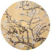 Sticker mural van Gogh - Amandiers en fleur crème - Rond
