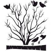 Sticker mural bicolore - Arbre fin aux oiseaux