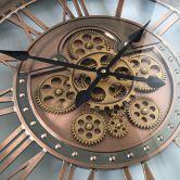 Horloge murale XXL cuivrée Kensington - Style industriel  avec engrenage qui tourne  - Ø 55 cm