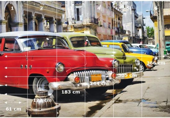 Selbstklebende Tapete Cars : Fototapete Cuba Cars – Sch?nes Urlaubsmotiv mit Oldtimern wall-art