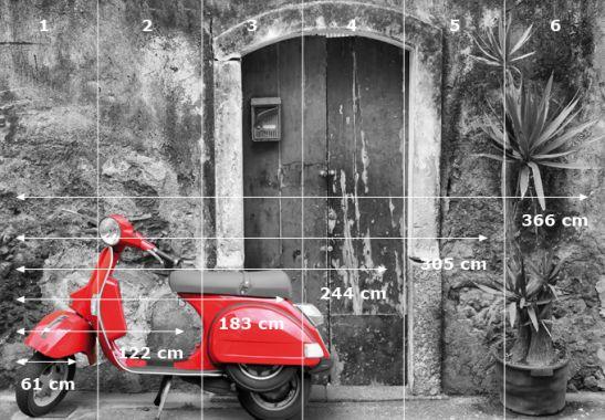 Fototapete fototapete red scooter sw for Zimmerdeko london