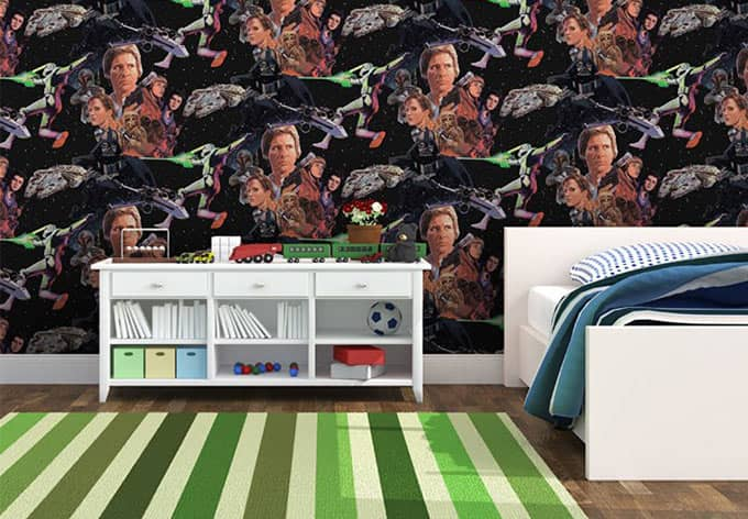 mustertapete papiertapete star wars film papier wall. Black Bedroom Furniture Sets. Home Design Ideas