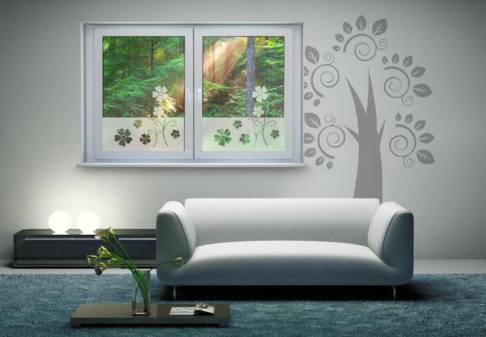 effet verre d poli fleurs wall. Black Bedroom Furniture Sets. Home Design Ideas