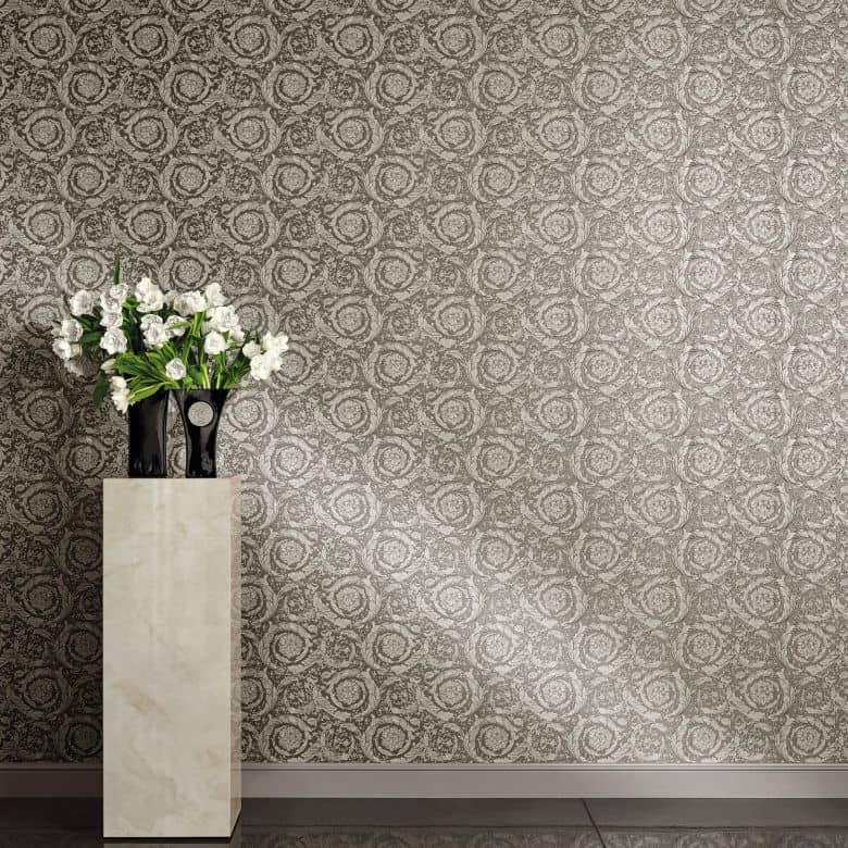 Versace Wallpaper Non Woven Wallpaper Barocco Flowers Brown Grey