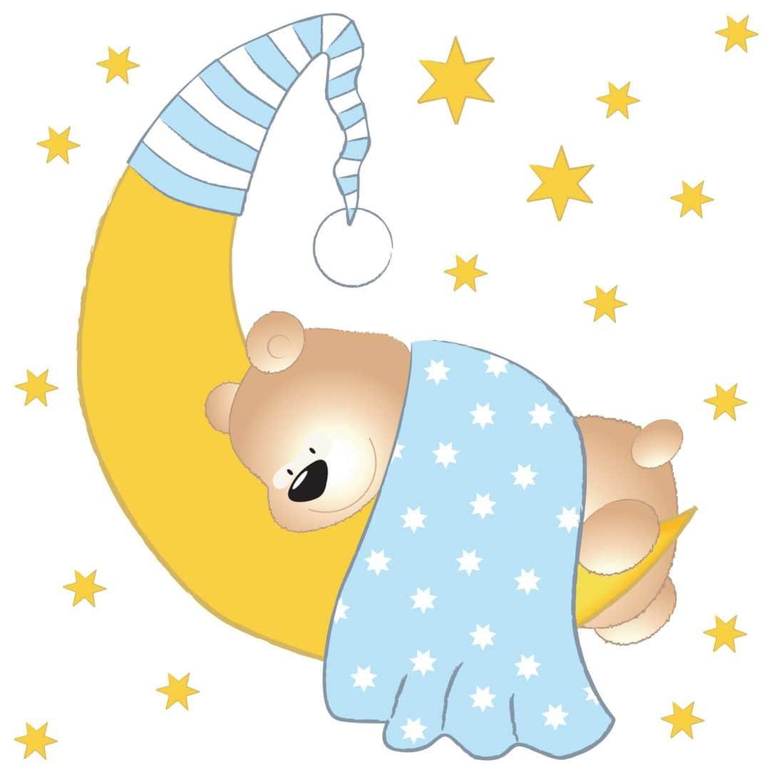 Mond Sterne Kleid: Wandtattoo Bärchen, Mond Und Sterne (blau) + Leuchtsterne