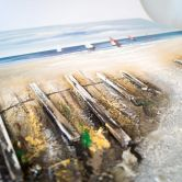 Set 3D Leinwandbild Unikat Handgemalt - Meer - Zaun - Steg 2x 80x80 cm