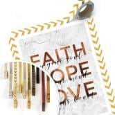 Poster Kupferoptik - Faith Hope Love