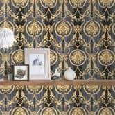 A.S. Création Vliestapete Hermitage Barocktapete mit Ornamenten grau, metallic, schwarz