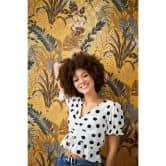 Livingwalls Metropolitan Stories 2 Nala - Cape Town Papier peint floral jungle, Marron, Jaune, Vert