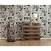 A.S. Création Vliestapete Authentic Walls 2 Tapete mit fotorealistischem Holzregal grau, grün, weiß