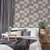 Livingwalls Vliestapete New Walls Tapete Finca Home in Fliesen Optik grau, creme