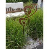 2-er Herz Set 110cm und 90cm als Gartenstecker Gartenspieß Metall Edelrost Gartendeko