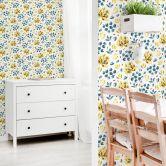Mustertapete - Aquarell Blüten 03 - gelb