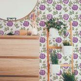 Mustertapete - Aquarell Blüten 05 - violett