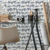 Patterned Wallpaper Elephants and Rhinos