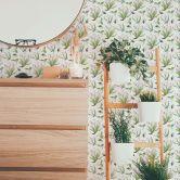 Mustertapete - illustrierte Blüten - grün