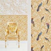Versace wallpaper Vliestapete Barocco Birds Tapete weiß, gelb, beige