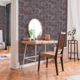 Livingwalls Vliestapete New Walls Tapete Finca Home in Fliesen Optik lila, metallic, braun