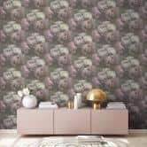Livingwalls Vliestapete New Walls Romantic Dream Blumentapete mit Rosen grün, lila