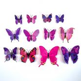 3D Wandtattoo Schmetterling Set 12-tlg - Lila