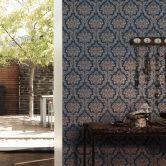 Livingwalls Vliestapete Paradise Garden Tapete mit Ornamenten barock blau, metallic, beige