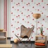 Vliestapete Premium Wall Tapete floral creme, grau, rot
