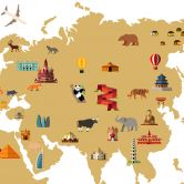Wandtattoo Weltkarte - travel the world