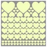 Sticker mural - Bébé éléphant et coeurs (vert) + Stickers phosphorescents