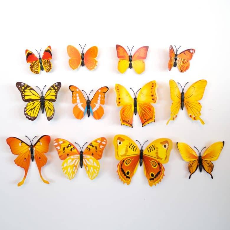 Gelbe 3d Schmetterlinge Als Besondere Wanddekoration Wall Art De
