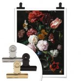 Poster Heem - Stillleben mit Blumen in einer Glasvase