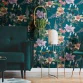 Architects Paper Vliestapete Jungle Chic Blumentapete Vogeltapete blau, gelb, grün