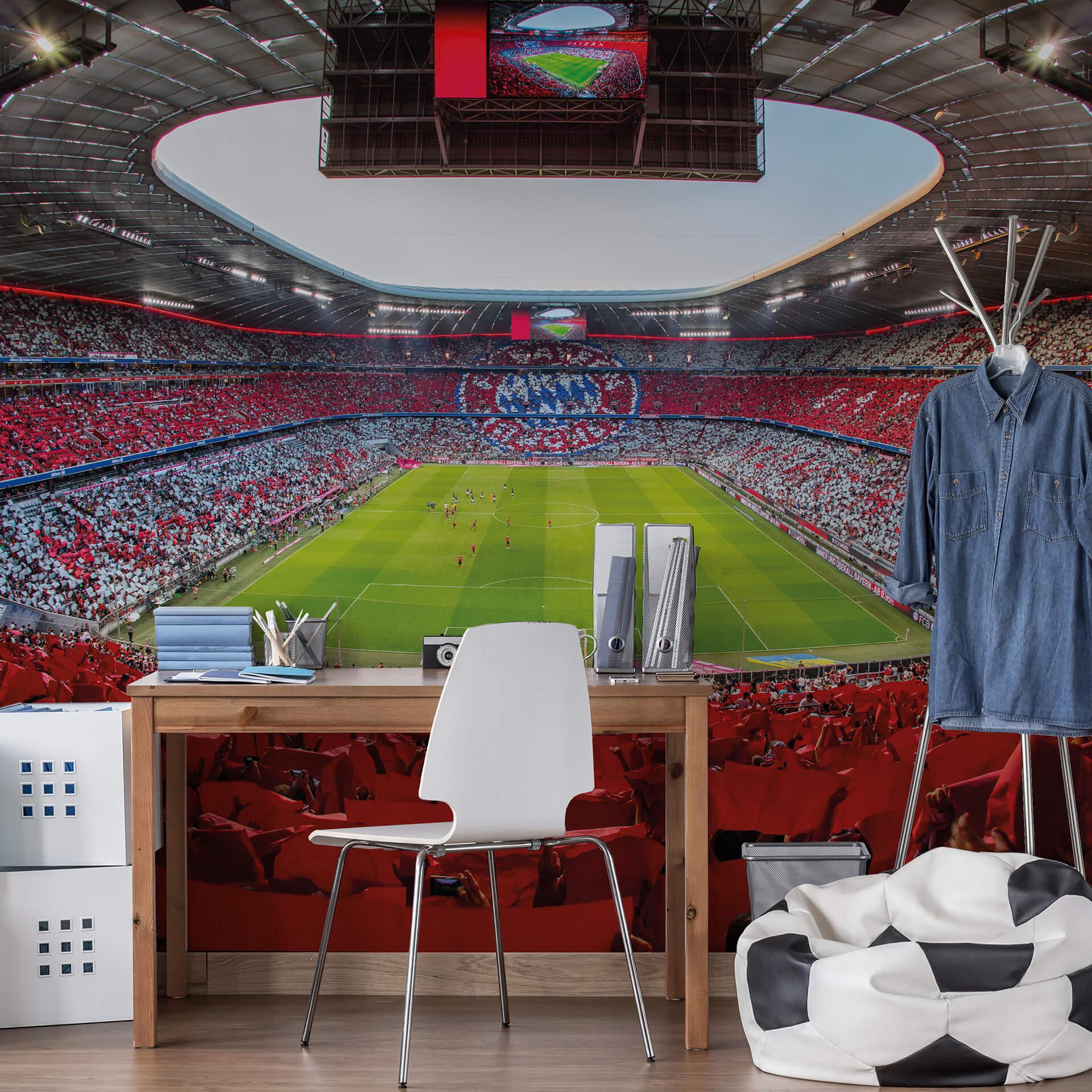 Details zu Fototapete FCB Stadion Rot Weiß WANDBILD FC BAYERN MÜNCHEN  ALLIANZ ARENA DEKO