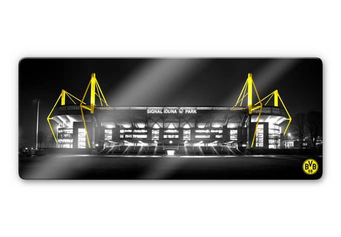 glasbild bvb signal iduna park bei nacht schwarz wandbild bundesliga fanclub ebay. Black Bedroom Furniture Sets. Home Design Ideas