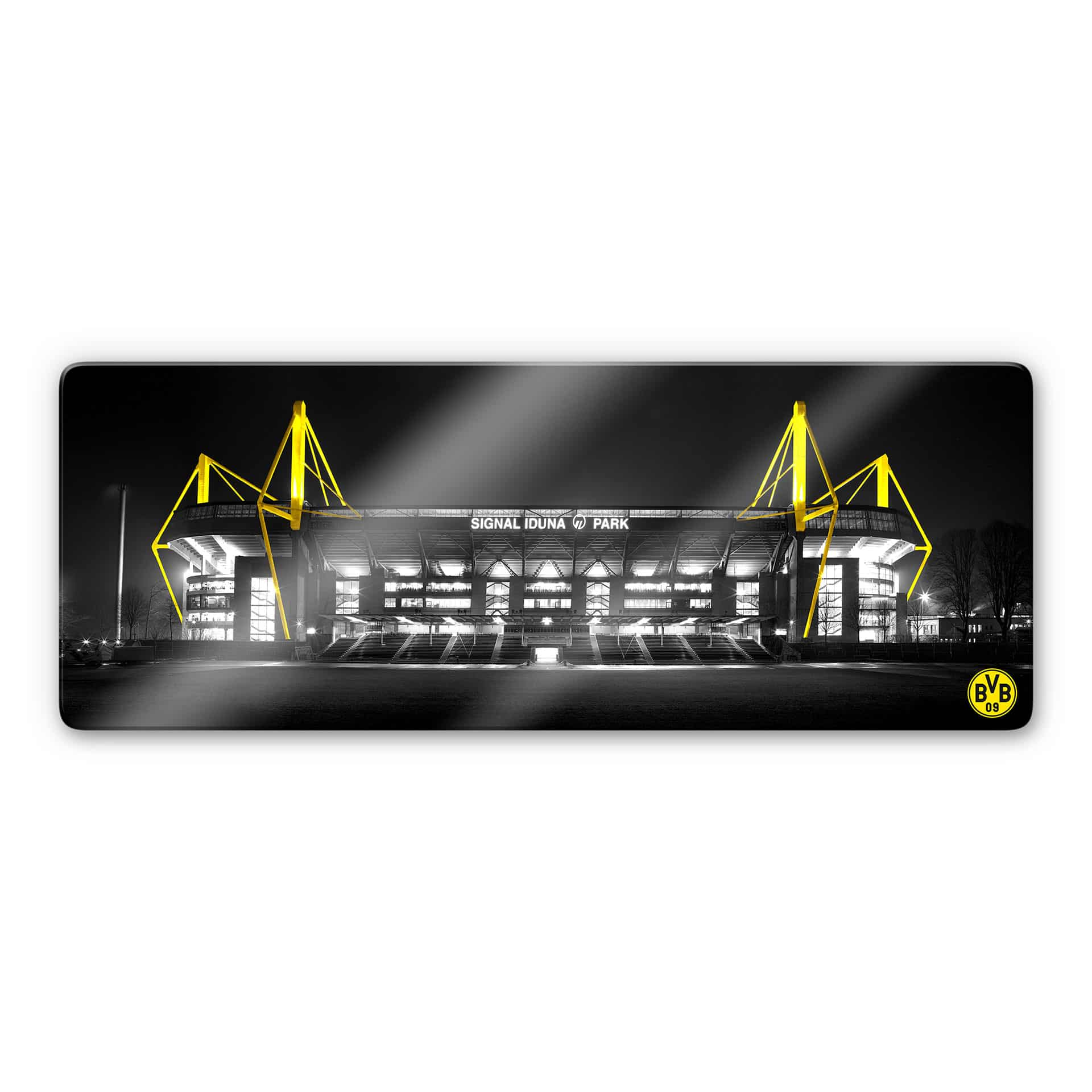 Glasbild BVB Signal Iduna Park bei Nacht mit Emblem Borussia Dortmund Fanshop