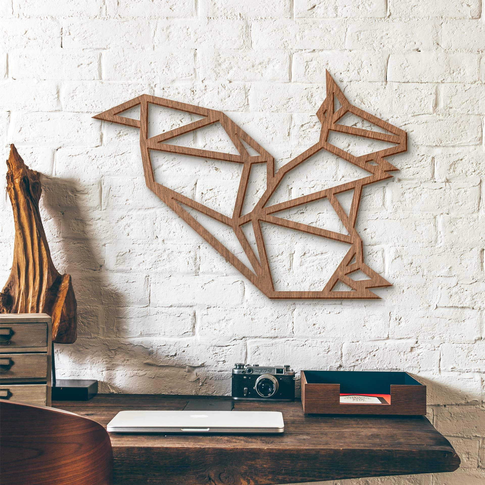 Holzkunst mahagoni origami eichh rnchen wanddeko for Origami zimmer deko