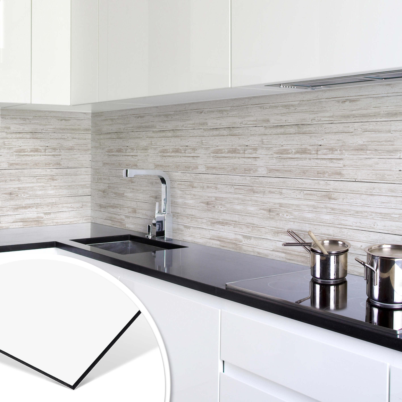 Details zu Küchenrückwand - Alu-Dibond - Shabby Chic Holz - Panorama  SPRITZSCHUTZ KÜCHE