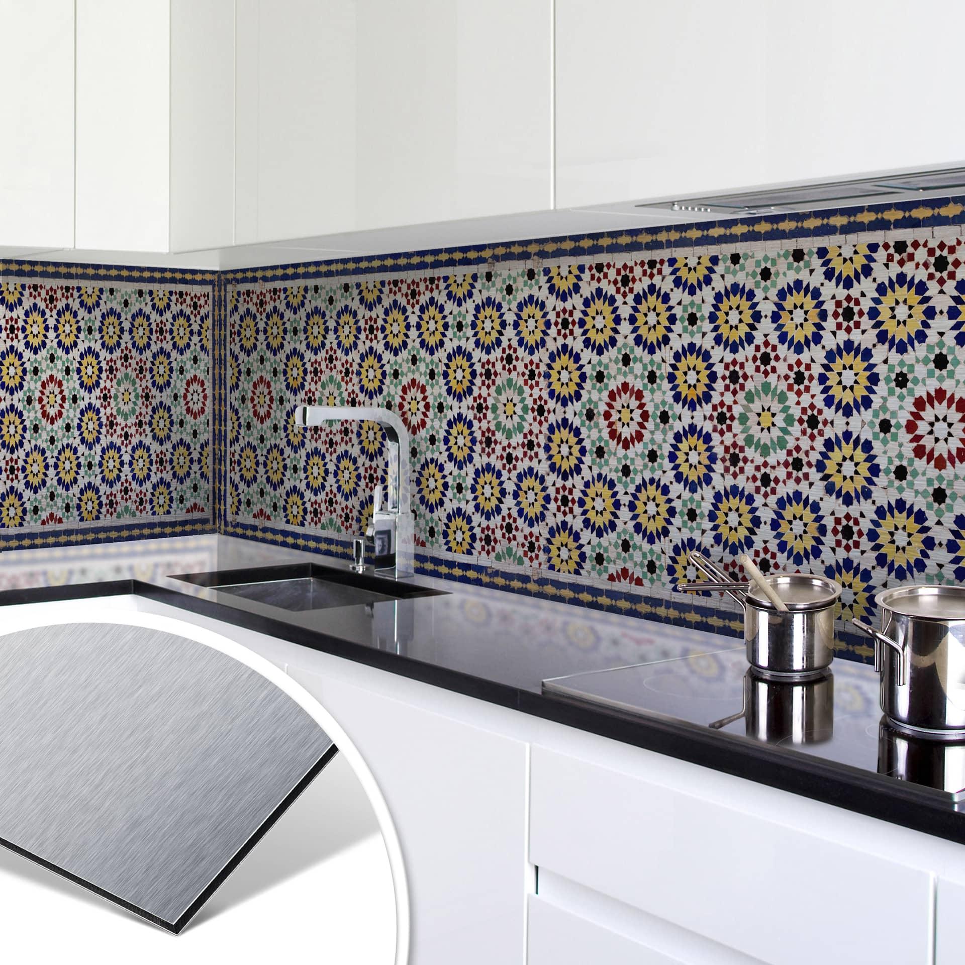 k chenr ckwand alu dibond silber orientalische kacheln 01 ebay. Black Bedroom Furniture Sets. Home Design Ideas