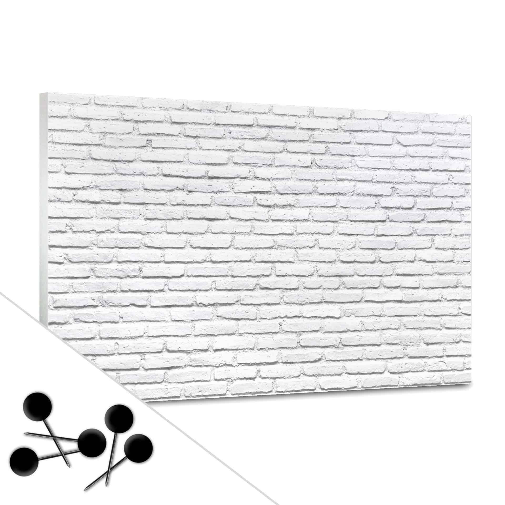 Pinnwand Pinnwand Weißer Backstein inkl 5 Pinnadeln grau WANDDEKO Ordnung