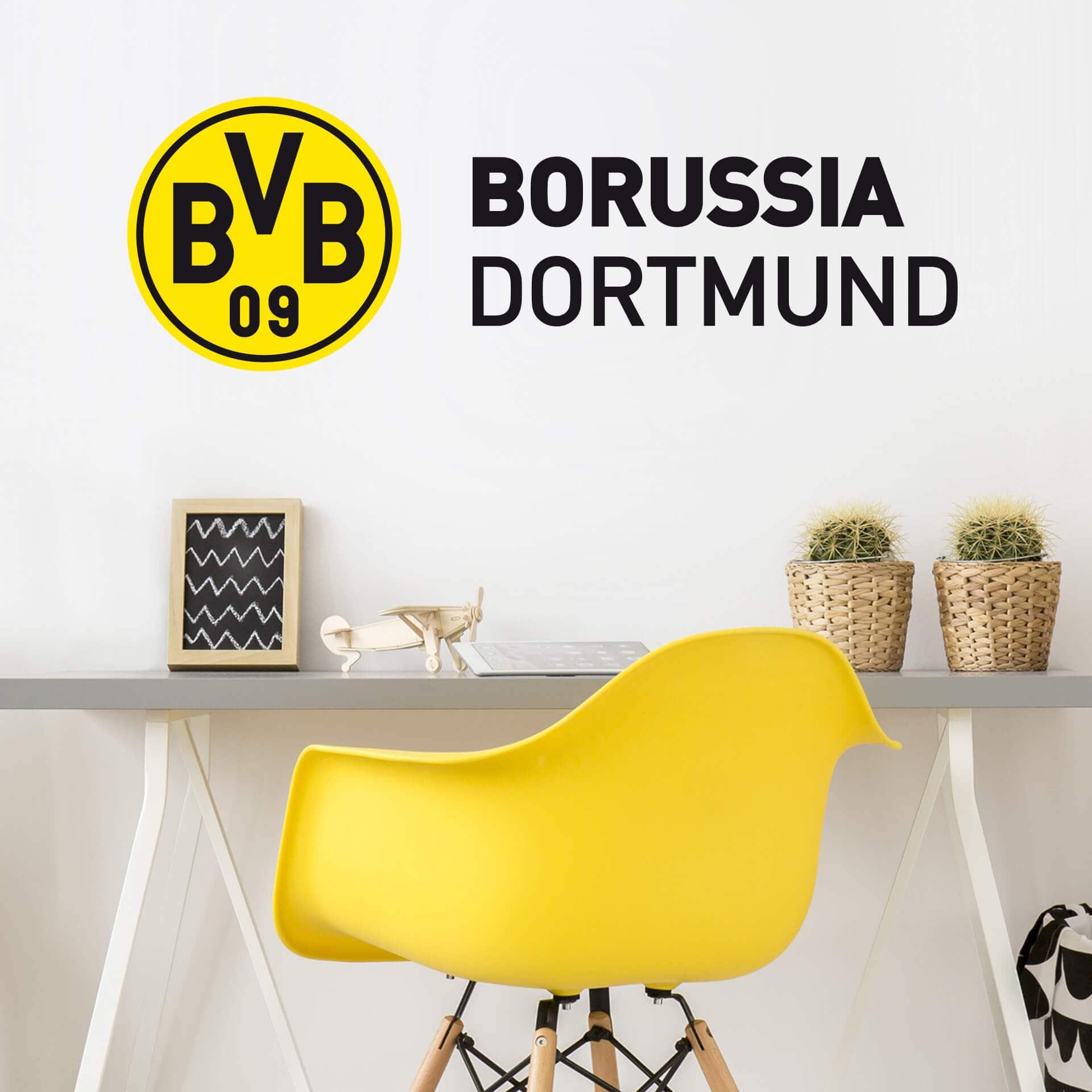 wandtattoo bvb schriftzug mit logo gelb wandaufkleber wanddeko