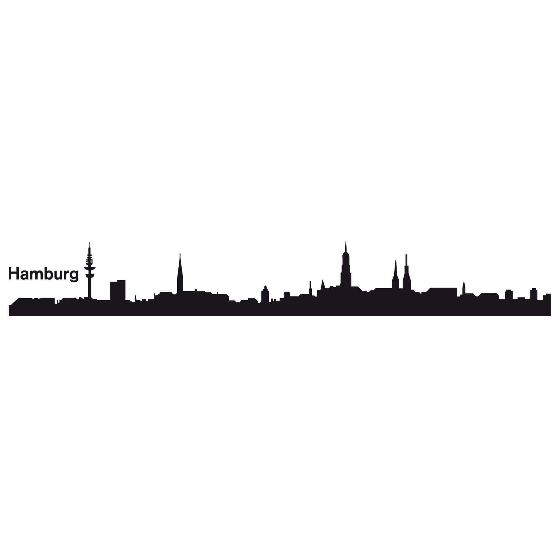 wandtattoo hamburg skyline wandbild wanddeko wandschmuck. Black Bedroom Furniture Sets. Home Design Ideas