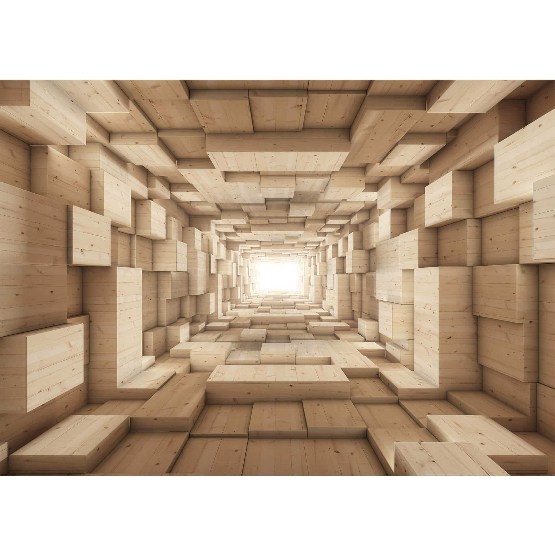 3d fototapete holz tunnel wall. Black Bedroom Furniture Sets. Home Design Ideas
