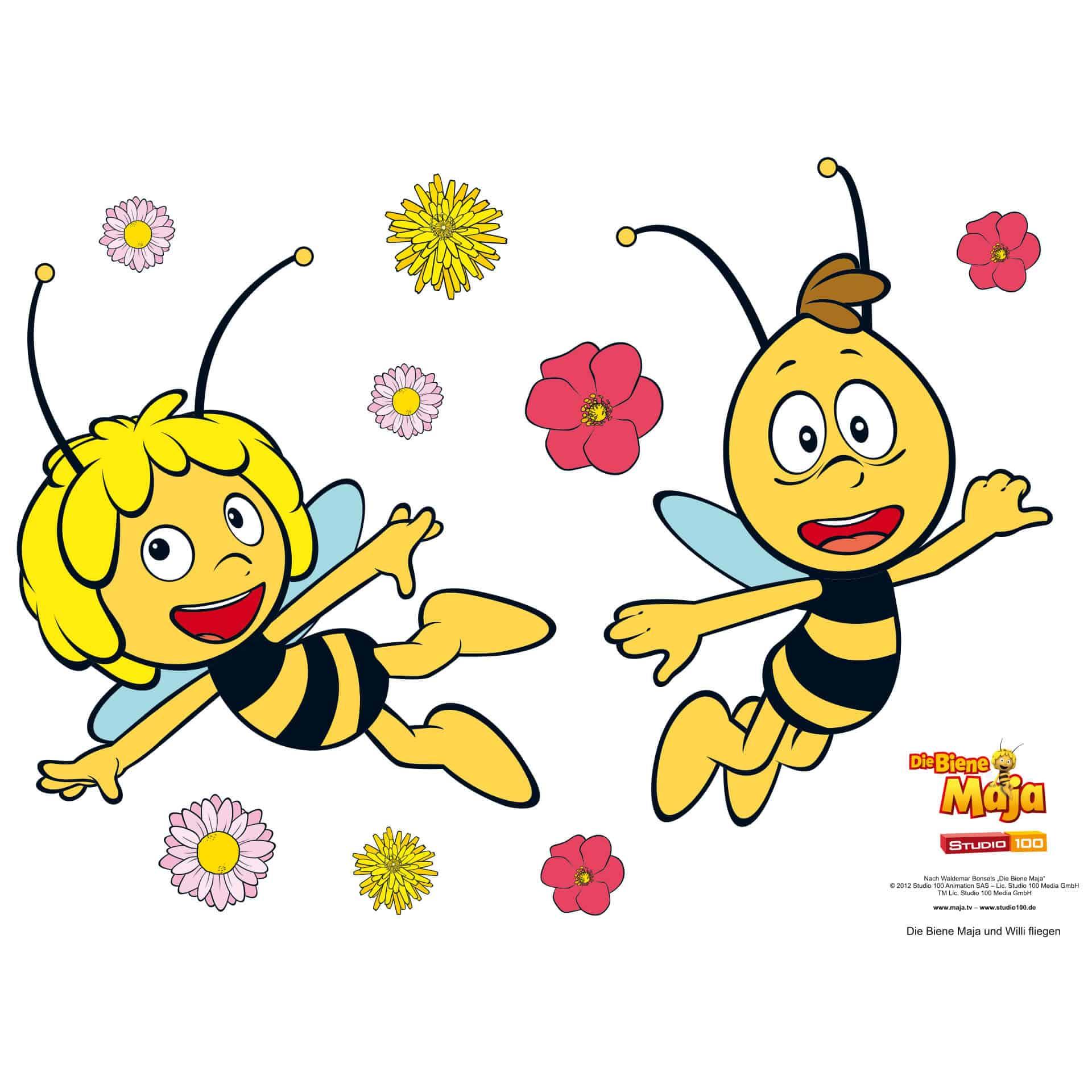 wandtattoo wandtattoo die biene maja und willi fliegen gelb ebay. Black Bedroom Furniture Sets. Home Design Ideas