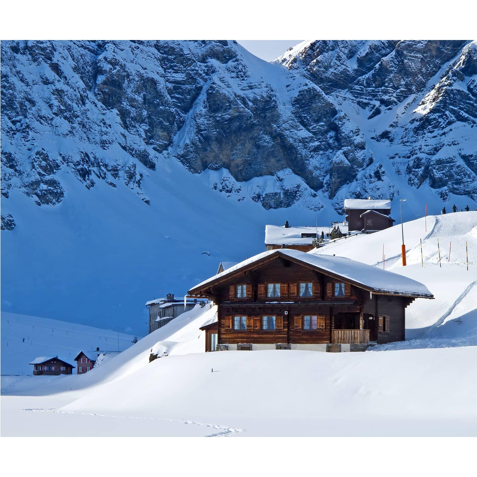 Fototapete ferienh tte in den schweizer alpen wall - Alpen dekoration ...