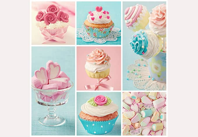 fototapete cupcake collage